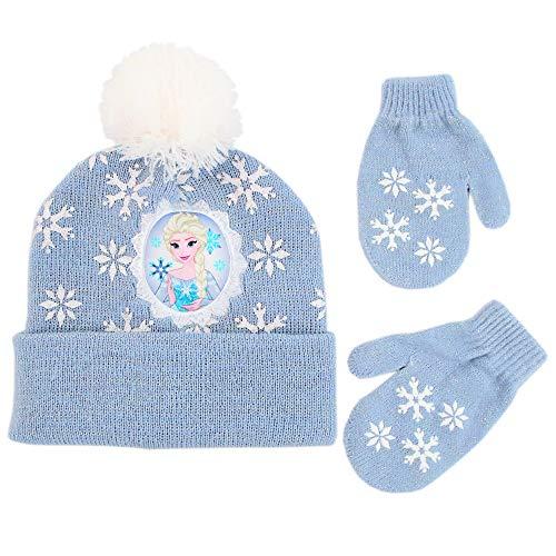 Disney Girls' Toddler' Frozen Elsa Beanie Hat and Mittens Cold Weather Set, blue, Age 2-4