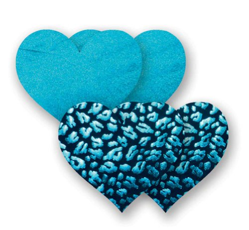 Nippies Turquoise Satin Leopard Heart Waterproof Self Adhesive Fabric Nipple Cover Pasties Size C Blue Satin Leopard
