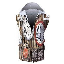 Men's Waistcoat Casual Hooded,Clock Decor,Antique Clocks on The Wall Instruments