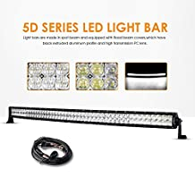 """Auxbeam 52"""" 300W Curved LED Light Bar 5D Lens 30000LM CREE Spot Flood Combo Beam Driving Light with Wiring Harness"""