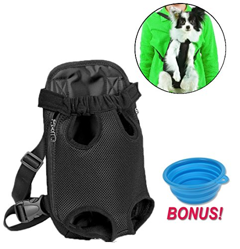 Dog Carrier | Comfortable Legs Out Front Dog Carrier Backpack Include Feeding Bowl | Travel Dog Cat Pet Bag for Travel Cycling with Adjustable Shoulder Strap and Inner Collar | Vibrant Black , L