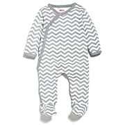 Skip Hop Baby Starry Chevron Side-Snap Long Sleeve Footie, Grey, 9 Months