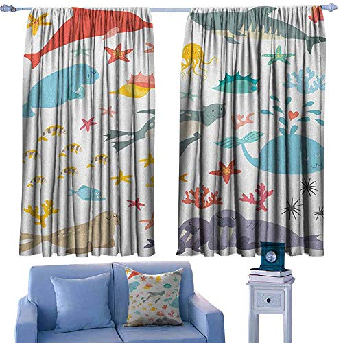 Mannwarehouse Ocean Kids Room Curtains Whale Squid Sea Lion Shark Jellyfish Clownfish Dolphin Starfish Stingrays Colorful for Living, Dining, Bedroom (Pair) 72