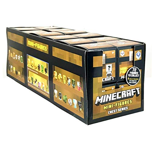 Mattel 24 Pack Complete Case Minecraft Minifigures Set of Mini Figures in Blind Boxes Alex Steve Creeper Horse Ghost Dog Bunny Spider Sheep Cat Zombie Duck Villager Jakolantern Gold Chest Series 3]()