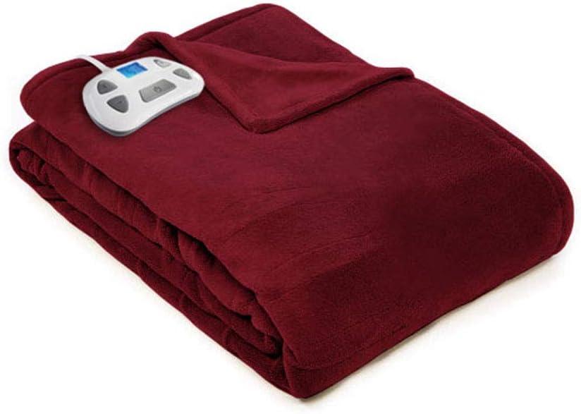 Pure Warmth 874270 Plush Electric Heated Warming Blanket Full Garnet Washable Auto Shut Off 10 Heat Settings