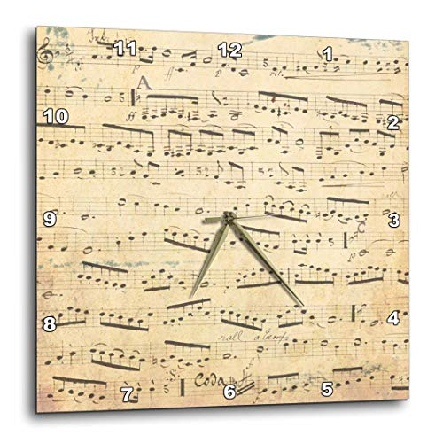 3dRose Grunge Musical Notes - Vintage Sheet Music - Yellowed Piano Notation - Pianist and Musician Gifts - Wall Clock, 10 by 10-Inch (DPP_120273_1)