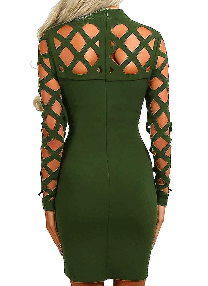 AMiERY Womens Hollow Out Dress Bandage Clubwear Long Sleeve Bodycon Dresses