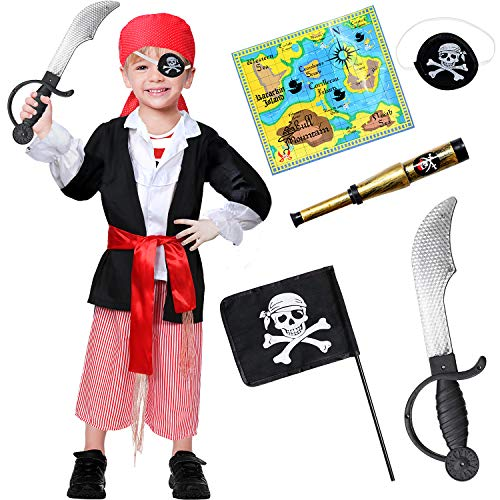 9 PCS Pirate Costume Kids Role Play Dress up Accessories Set for Boys Black]()