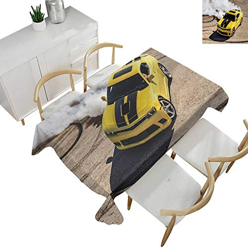 Manly,Fitted tablecloths Yellow Sports Car Drifting Smoke Fast Speed Competition Motion Capture Picture Table Cover for Rectangular Table Yellow Warm Taupe 54