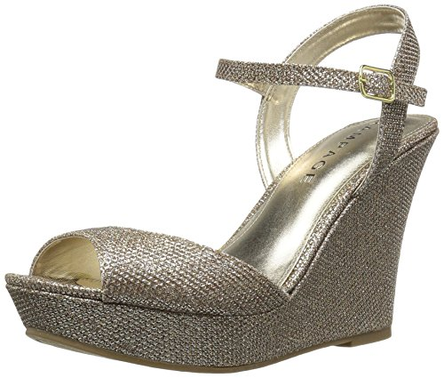 [Rampage Women's Crissy Platform Ankle Strap Open Back Wedge Sandal,  Blush Glitter , 6.5 M US] (Lucky Platform Shoes)
