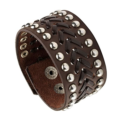 MILAKOO Brown Punk Rock Biker Link Chain Black Leather Bracelet Cuff Wristband Gothic 6.5-8.5