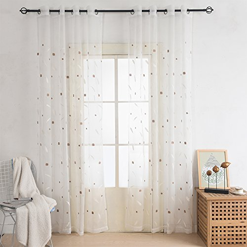 Heyhousenny Embroidered Grommet Window Sheer Curtain 2 Panels for Living Room 54x84 inches (1105 Sheer)