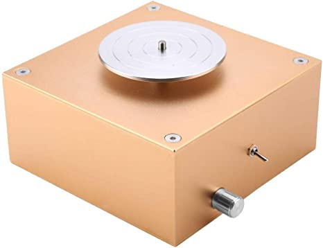 Pottery Wheel 6.5cm 10cm Turntable Mini Pottery Machine Electric Pottery Wheel DIY Clay Tool with Tray for Ceramic Work Ceramics Clay Art Craft Golden Mini Pottery Wheel