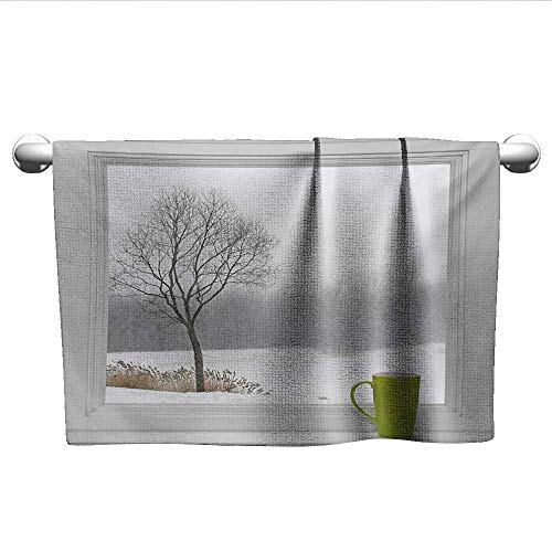 alisoso Winter,Fade-Resistant Towel Green Teacup on Windowsill Forest Outdoors Snowstorm Scenic Countryside Pool Gym Towels Apple Green Beige White W 24