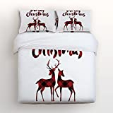 Libaoge Piece Bed Sheets Set, Red Black Buffalo Check Plaid Christmas Reindeer Merry Christmas, 1 Flat Sheet 1 Duvet Cover and 2 Pillow Cases