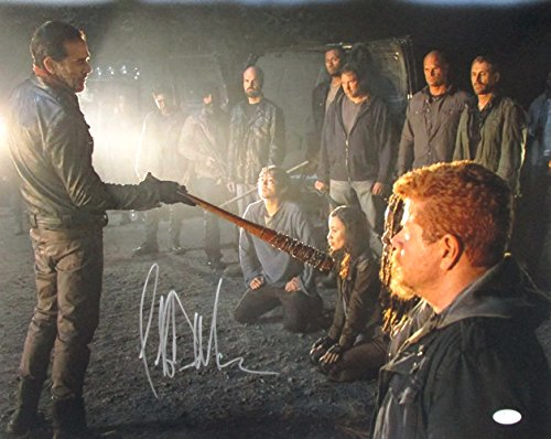 Jeffrey Dean Morgan Signed The Walking Dead Negan Lineup 16x20 Photo JSA