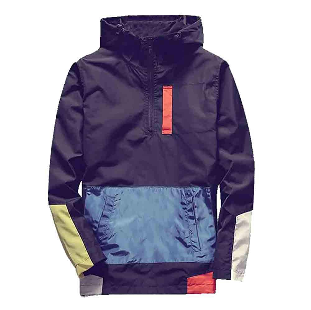 FEITONG Mens Autumn Winter Stitching Color Sports Baseball Waterproof Pullover Hooded Tops Blouse Outerwear
