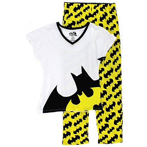 Women's Ladies Knit Pajama Set (Medium, Batgirl) (Outfits For Tweens)