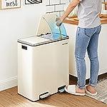 SONGMICS-Cubo-de-basura-pedal-Basurero-de-reciclaje-para-cocina-con-2-cubetas-2-x-30L-Tapa-de-bisagra-Metal-con-pedal-Cubos-interiores-de-plastico-y-asas-Blanco-Nube-LTB060A01