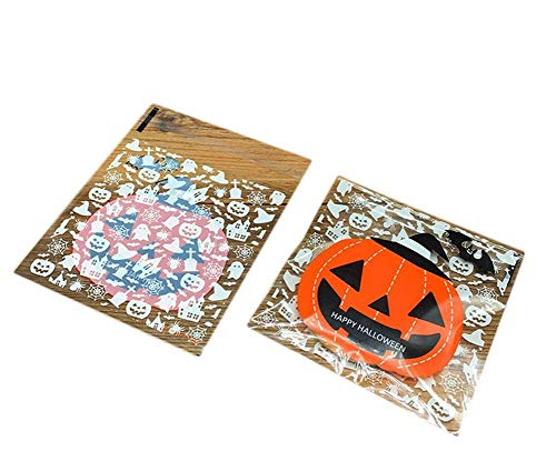 Xeminor 100PCS Halloween Candy Bags Self Adhesive Trick or Treat Bags Smile Pumpkin Candy Bag Durable and Useful