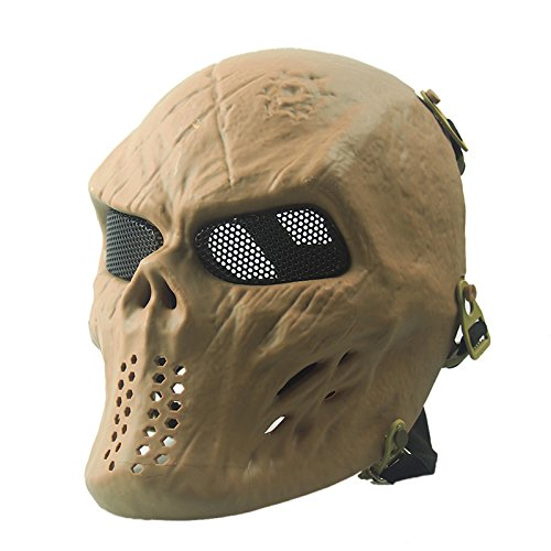Isafish Halloween Airsoft Paintball Full Face Breathable Mask Skull Skeleton CS Tactical Mask Cosplay Masquerade Party Facial Accessory Mud Color TAN ZL-M06 Skull mask -