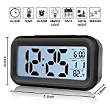 Alarm Clock,IEKA Digital Easy to Set and Watch with Large LCD screen Low Light Sensor Technology Soft Night Light Repeating Snooze Month Date & Temperature Display (Black)