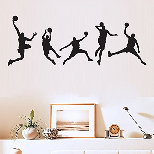 ufengke home Basketball Player Silhouette Wall Art Stickers 5-Piece of Different Basketball Poses Decorative Removable DIY Vinyl Wall Decals Living Room, Bedroom, Boy