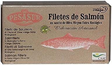 3 x 120 g - Pesasur Lomos Salmón Salvaje Aceite de Oliva Virgen Extra Ecológico Lata
