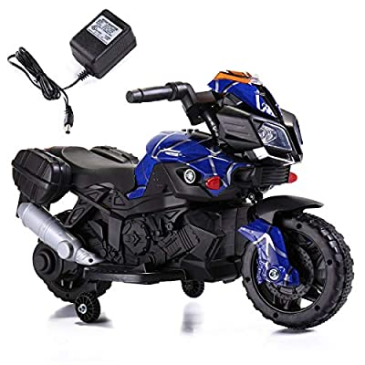 6V Kids Ride On Motorcycle Battery Powered Electric Toy W/Training Wheels Blue: Car Electronics