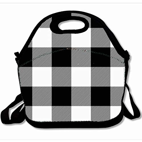 Ahawoso Reusable Insulated Lunch Tote Bag Rustic Black And White Buffalo Check Plaid 10X11 Zippered Neoprene School Picnic Gourmet Lunchbox