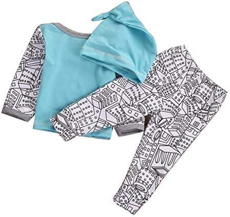 ヨーロッパとアメリカのファッションかわいいハウスプリントスリーピースジャケットズボンハット子供服セット-グリーン90