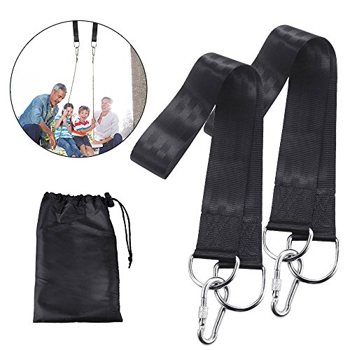 Price comparison product image Coolife Tree Swing Straps Safety Swing Hanging Kit(Set Of 2) Holds 2000lbs, Long Swing Rope with 2 Heavy Duty Carabiners Hook, Waterproof, Easy & Quick Swing Hanger Installation for Any Swings & Hammocks