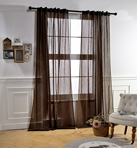 Mysky Home Back Tab and Rod Pocket Window Crushed Voile Sheer Curtains for Living Room, Chocolate, 51 x 95 inch, Set of 2 Crinkle Sheer Curtain Panels