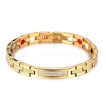 899543a2ccbb6 Rando Gold Magnetic Therapy Bracelets Health Energy Germanium Magnets  Bracelet Bangle Men Women Rhinestone Titanium Link