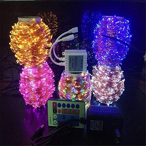 Jcpoler Fernbedienung Kupfer Lichterkette_12v Kupferdrahtschnur 24v Multicolor LED Weihnachten - 90 Meter 900 Licht Kupferdraht rosa
