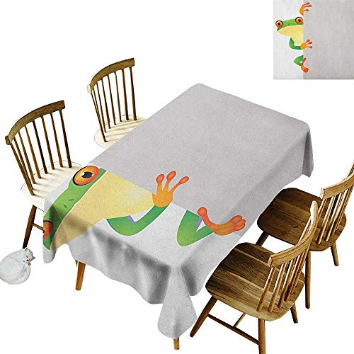 Spotted Rectangular Tablecloth W50 x L80 Reptile Funky Frog Prince with Big Eyes on Wall Camouflage Nursery Reptiles Theme Green Yellow Orange Perfect for Spring Summer Farmhouse Décor & More