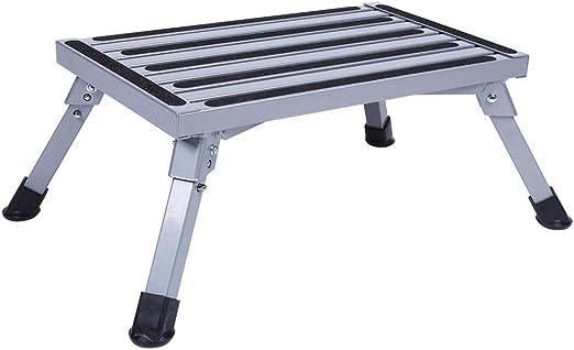 EBTOOLS Taburete plegable portátil plegable de aluminio antideslizante plataforma escalera de seguridad Taburete Caravana Camping accesorios para adultos mayores: Amazon.es: Jardín