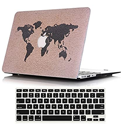 Lykoko Hard Protective Case Shell with Keyboard Cover for MacBook Air 11 Inch (Models: A1370 and A1465) (World Map #1)