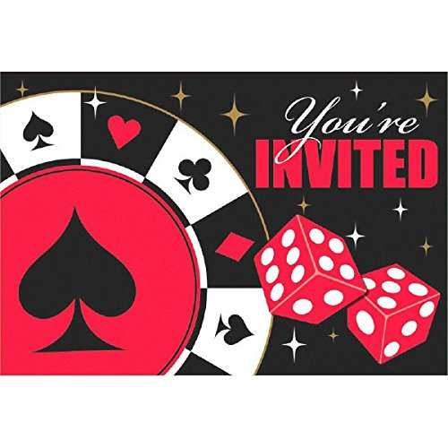 Casino Party Postcard Invitations, 8 Ct. -