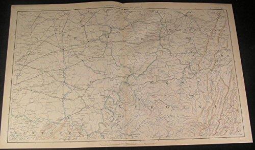 South Ohio West Virginia Pennsylvania c.1890s antique detailed Civil War map
