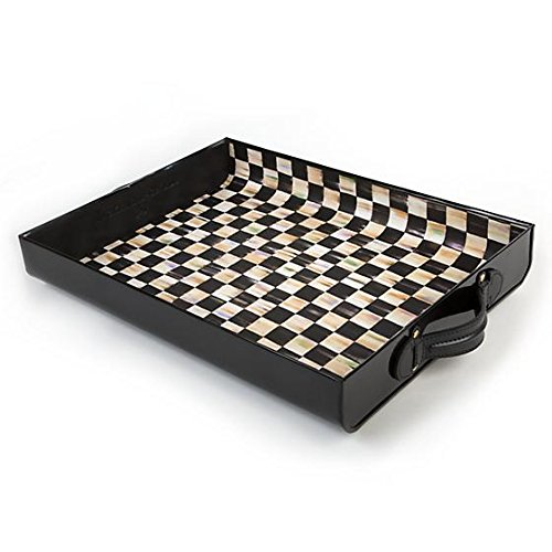 MACKENZIE CHILDS Brand New Large Courtly Check Terrific Tray Black 17.5'' wide, 13'' long, 3'' tall