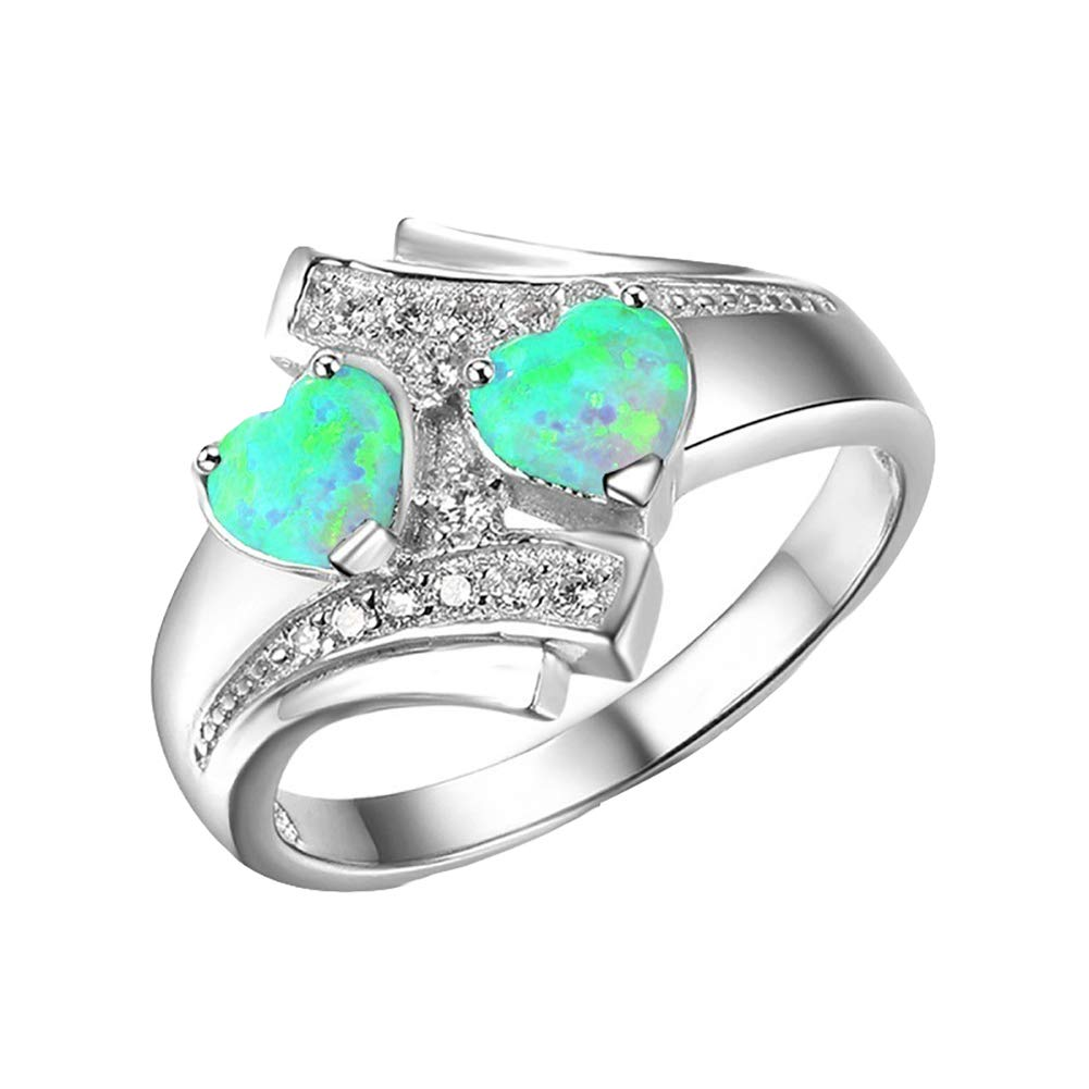 bromrefulgenc Women Ring with Love Heart Design,Fashion Women Double Love Heart Faux Opal Finger Ring Wedding Party Jewelry - Blue US 8