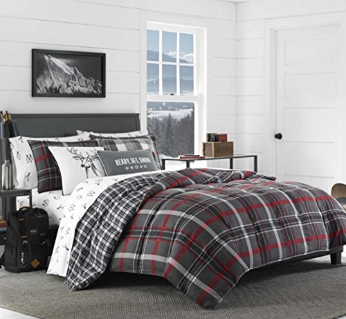 3 Piece Reversible Plaid Patterned Comforter Set Full/Queen Size, Featuring Horizontal Vertical Lines Deer Design Comfortable Bedding, Stylish Lodge Cabin Inspired Boys Bedroom, Grey, Red, Multicolor -