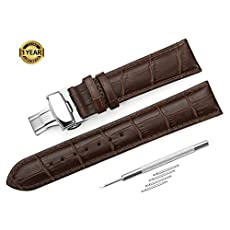 iStrap 18mm Croco Calf Leather Replacement Watch Band Strap w/ Push Button Deployment Clasp Brown