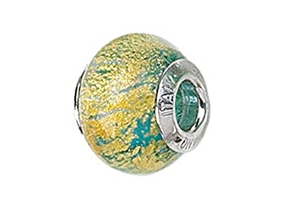 adea1ddf0 Image Unavailable. Image not available for. Color: Zable Sterling Silver  Blue with Gold Specks Murano Glass Bead/Charm