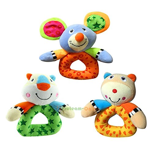[Animal Handbells Musical Developmental Toys Bed Bells Kid Baby Soft Toys Rattle] (Parrot Costume Female)