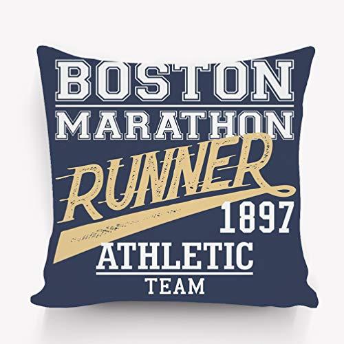(langhu Pillow case Boston Marathon Runner Athletic Team Typographic Design 18 18)