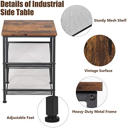 COSTWAY 3-Tiers Industrial Side Table with Metal Mesh Shelves, Rustic Storage Organiser Display Stand, Home Office Living Room Bedroom Nightstand Sofa Table
