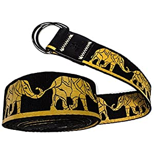 Well-Being-Matters 51gFWamlznL._SS300_ Yoga Strap   Designed in Italy   Cotton Belt 8ft Long with iYouYoga Logo, Gold Seam, Adjustable Metal D-Ring   Soft and…