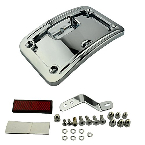 (License Plate Curved Laydown Number Mount Frame Bracket For Harley Softail FLSTSC Deluxe FLSTN 2005-2007 Harley Softail Springer Classic FLSTSC 2005-2017 HARLEY Softail Dexluxe FLSTN (Chrome))